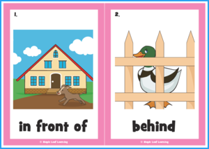 In Front of Behind Between Song Flashcards