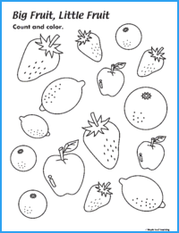 Big Fruit Little Fruit Adjectives Worksheet