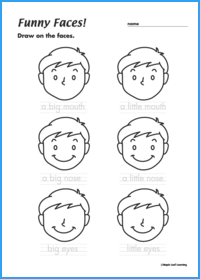 Funny Faces Adjective Worksheet