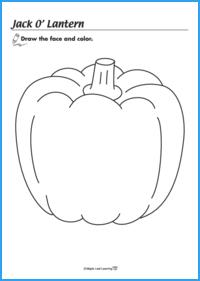 Jack o' Lantern Halloween Coloring Sheet