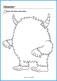 Monster Halloween Coloring Sheet