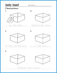 Sally Snail Prepositions Worksheet