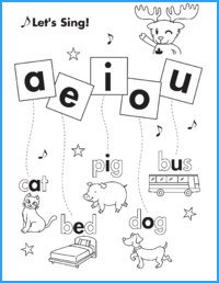 Vowel Song #1 Worksheet