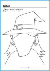 Witch Halloween Coloring Sheet