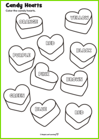 Candy Hearts Worksheets